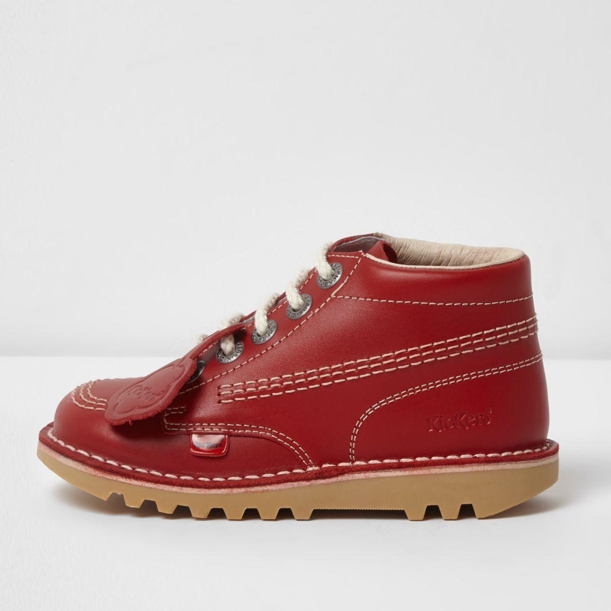 Kickers – Bottines rouges à lacets pour enfant