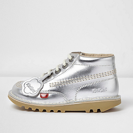 Girls silver Kickers lace-up boots