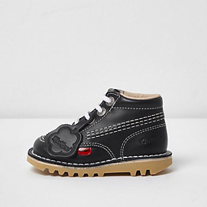 Kids navy Kickers lace-up boots