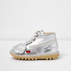 Mini - Kickers - Zilverkleurige hoge veterschoenen voor meisjes