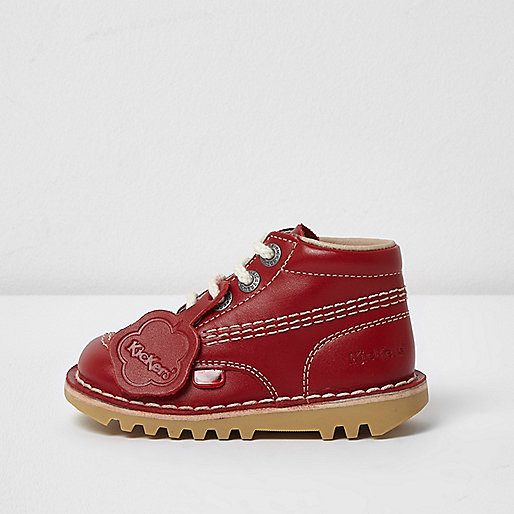 Mini girls red Kickers lace-up boots
