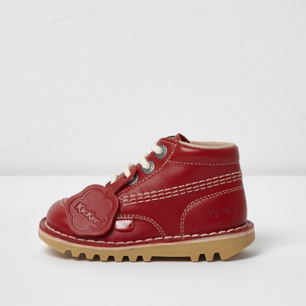Mini kids red Kickers lace-up boots