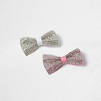 Girls diamante hair clip multipack