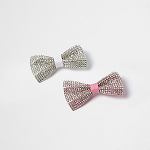 Girls diamante hair clip multipack
