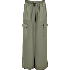 Girls khaki green palazzo trousers