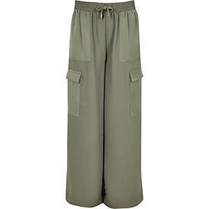 Pantalon palazzo vert kaki pour fille