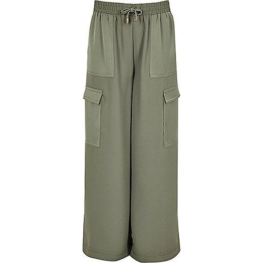 Girls khaki green palazzo pants