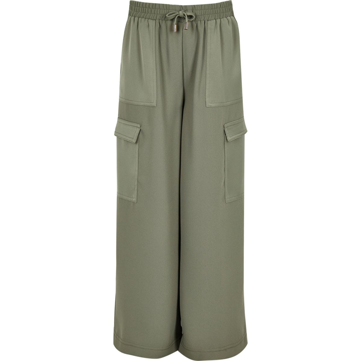 Girls khaki green palazzo trousers
