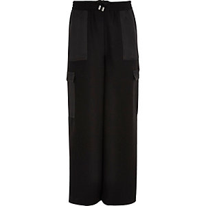Girls black cargo palazzo trousers