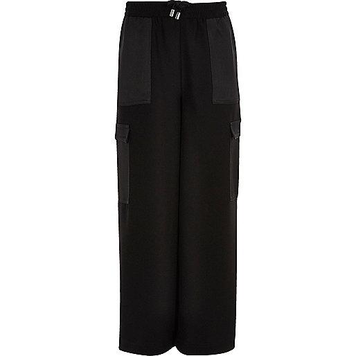 Girls black cargo palazzo trousers