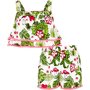 Girls green tropical flamingo crop top outfit