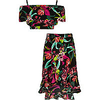 Girls black tropical bardot top outfit