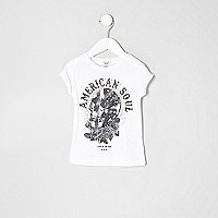Mini girls american skull print T-shirt