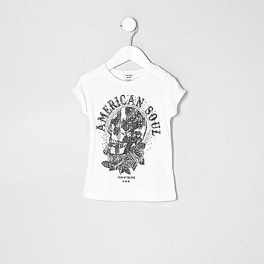 Mini girls american skull print T-shirt
