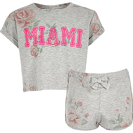 Girls grey floral crop top and shorts set