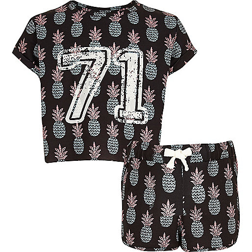 Girls black pineapple crop top and shorts set