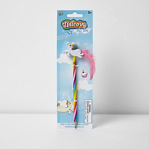Girls unicorn pencil topper