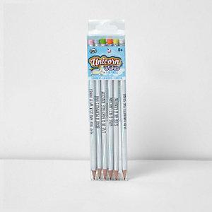 Multipack blauwe potloden met eenhoorn voor meisjes