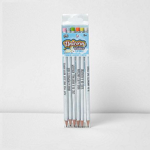 Girls blue unicorn pencils multipack