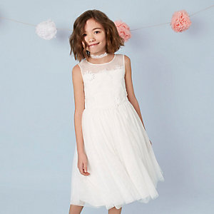 Girls cream mesh floral tutu dress