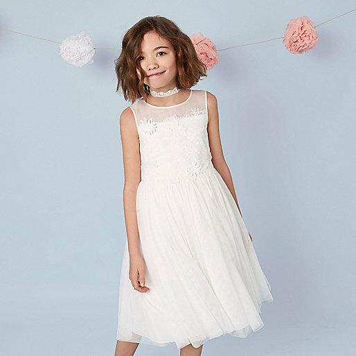 Girls cream mesh floral tutu dress