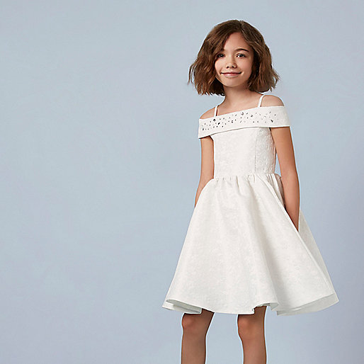 Girls cream jacquard skater dress - Party Dresses ...