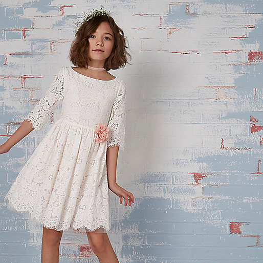 Girls cream lace flower corsage dress