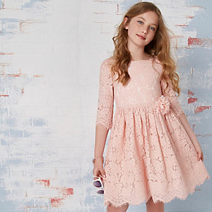 Girls pink lace flower corsage dress