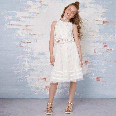 River Island Crème outfit met kanten top en tutu voor meisjes