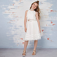 Girls cream lace top and tutu outfit