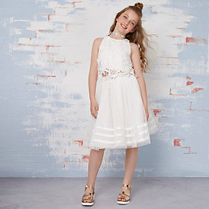 Girls cream lace top tutu flower girl outfit