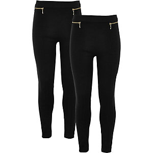 Girls black ponte zip leggings two pack