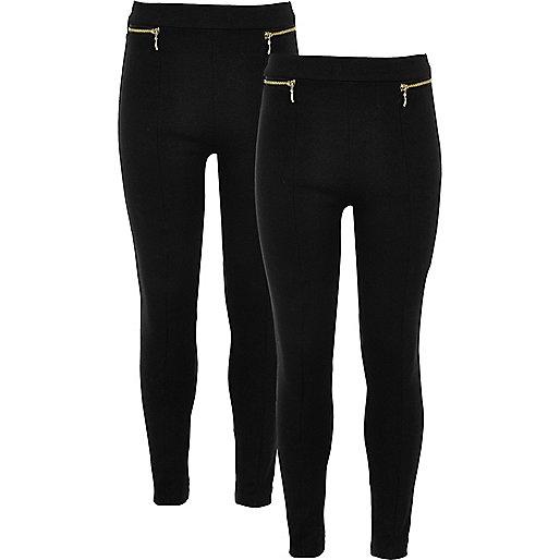 Girls black ponte zip leggings two pack