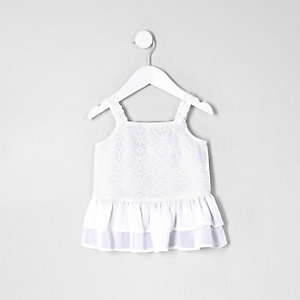 Mini girls white embroidered peplum hem top