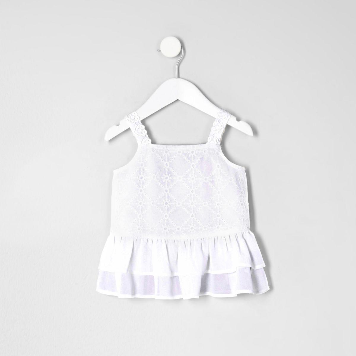 Mini girls white embroidered peplum hem top