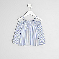 Mini girls blue stripe shirred bardot top