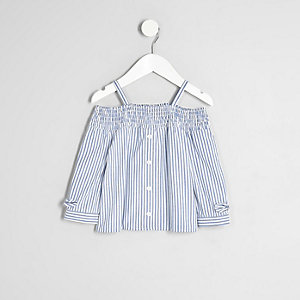Mini girls blue stripe shirred bardot shirt