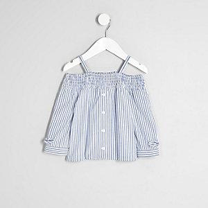 Mini - Blauw gesmokt bardotoverhemd met strepen voor meisjes