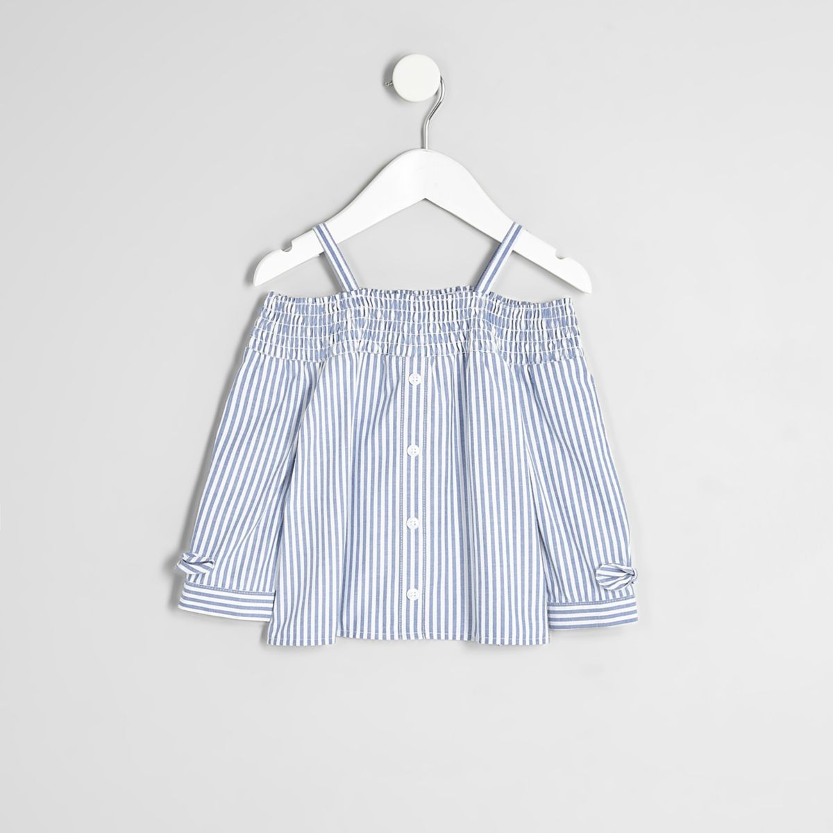 Mini girls blue stripe shirred bardot top