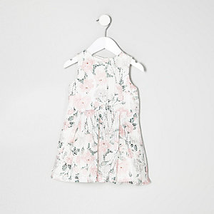 Mini girls white floral burnout dress