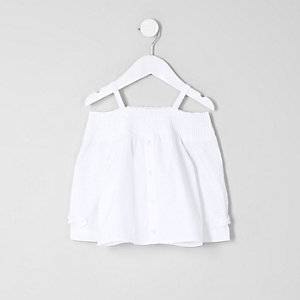 Mini girls white long sleeve bardot top