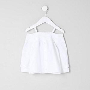 Top Bardot blanc à manches longues pour mini fille