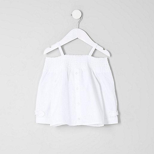 Mini girls white long sleeve bardot top