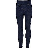 Legging aspect jean bleu avec clous thermosoudés pour fille