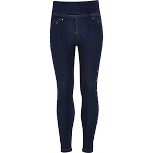 Girls blue heatseal stud denim look leggings