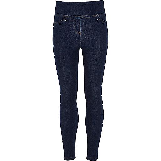 Girls blue heatseal stud denim look leggings