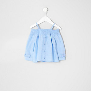 Mini girls blue long sleeve bardot top