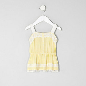 Mini girls yellow lace cami top