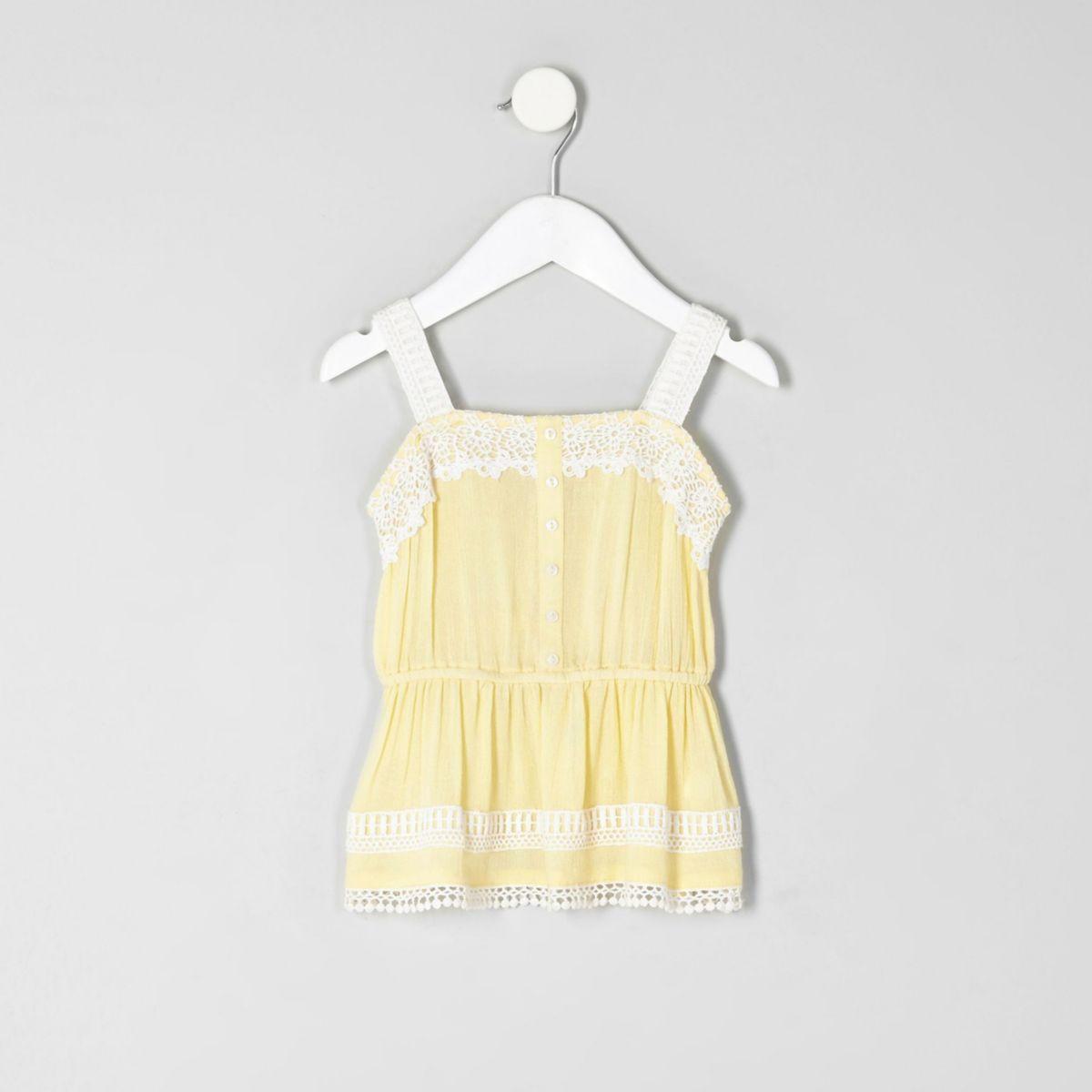 Mini girls yellow lace cami top