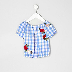 Mini girls blue gingham rose print bardot top